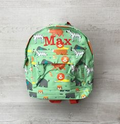 Personalised Kids Animal Park Zoo Safari Mini Backpack - Custom Boys  Children s School Bag - Embroidered Name bbf64e0f17c28