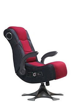 X-Rocker 5129101 Pedestal Video Gaming Chair 2.1 Microfiber Mesh, Black/Red