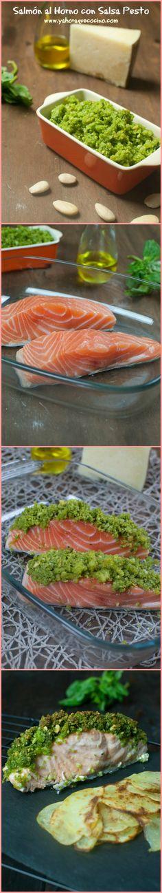 Salmón al Horno con Salsa Pesto --> Pesto Baked Salmon #singluten