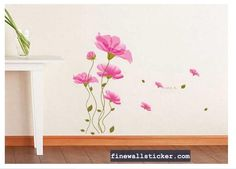 Removable Pink Flowers Wall Decor Mural Decor Art wall Stickers    #Pink #PinkFlowers #wallsticker #flowerwallsticker #design #interiordesign #flower Decor, Wall Decor, Home Decor Decals, Wall Sticker, Mural, Flower Wall Stickers, Home Decor, Wall Stickers, Flower Wall Decor