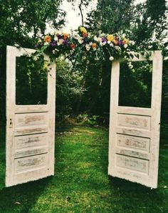 Emerald green--rustic outdoor themed wedding (add Marsala to the flowers)