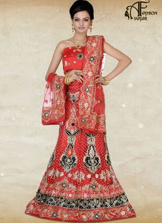 Red Color Designer Net Bridal Lehenga Choli Online Shopping India