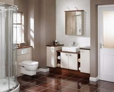 Love the sharp and sleek look of Walnut & White in the bathroom claudia_natural_gloss_and_walnut1