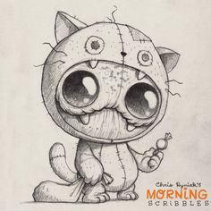 Cute Monster of Chris Ryniak Cute Monsters Drawings, Cute Drawings, Drawing Sketches, Monster Sketch, Monster Drawing, Monster Tattoo, Desenho Tattoo, Creepy Cute, Little Monsters