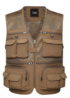 ZSHOW Men's Mesh Fishing Vest Multi Pockets Photography Outdoor Jacket