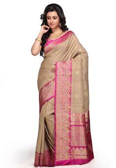 Beige and Fuchsia Pure Handloom Tussar Silk Banarasi Saree with Blouse: SAVA233