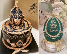 Gilded antique Faberge eggs from Cake Me Baby left, Bobbette and Belle right