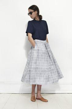 KOWTOW, Studio Skirt, Dashes on White | Mr. Larkin