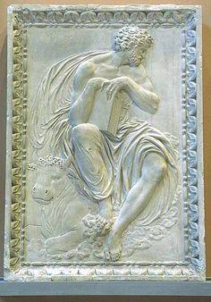 Jean GOUJON  Actif depuis 1540 - mort probablement à Bologne entre 1565 et 1568    Saint Luc   Pierre  H. : 0,79 m. ; L. : 0,56 m. ; Pr. : 0,11 m.