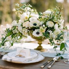 Overflowing greenery can make an elegant centerpiece.