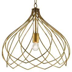 Edolie Modern Regency Antique Gold Wire Lotus Pendant | Kathy Kuo Home