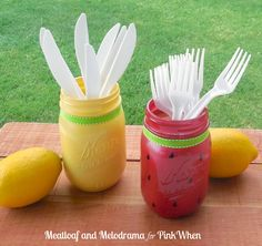 Welcome summer in with these cute mason jar utensil holders. http://www.bjcraftsupplies.com/generalCrafts/chalkboards.asp