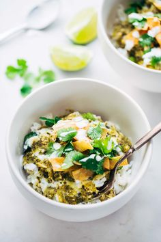 Roasted Tomatillo Chicken and Rice Bowls - simple comfort food with a kick!