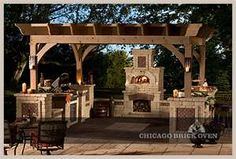 Outdoor kitchen; fireplace