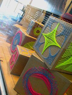 Neon yarn makes great store windows