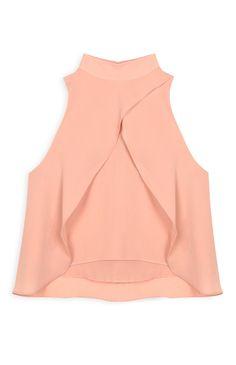 Primark - Blusa drapeada gola alta cor de pêssego