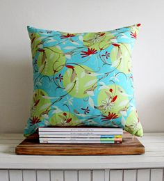 Turquoise Gypsy Floral cushion cover // 45cm by LoxandSmith