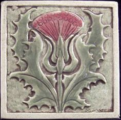 Art Nouveau-style Thistle tile from Earthsong Tiles Arts And Crafts For Adults, Arts And Crafts House, Arts And Crafts Movement, Ceramic Tile Art, Clay Tiles, Mosaic Art, Art And Craft Videos, Art Nouveau Tiles, Celtic Art