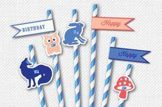 Folk Woodland Animals Straw Flags - Party Printables DIY