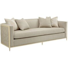 Shatter Modern Classic Beige Upholstered Gold Metal Wrapped Bench... ($5,286) ❤ liked on Polyvore featuring home, furniture, sofas, cream fabric sofa, beige fabric sofa, cream sofa, ivory sofa and upholstered couch