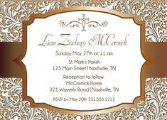 Copper First Communion Invitation - Printable Christening or Baptism Invitation First Communion Invitations, Baptism Invitations, Beauty First, Candy Bar Wrappers, First Holy Communion, Holidays And Events, Printing Services, Christening, Rsvp
