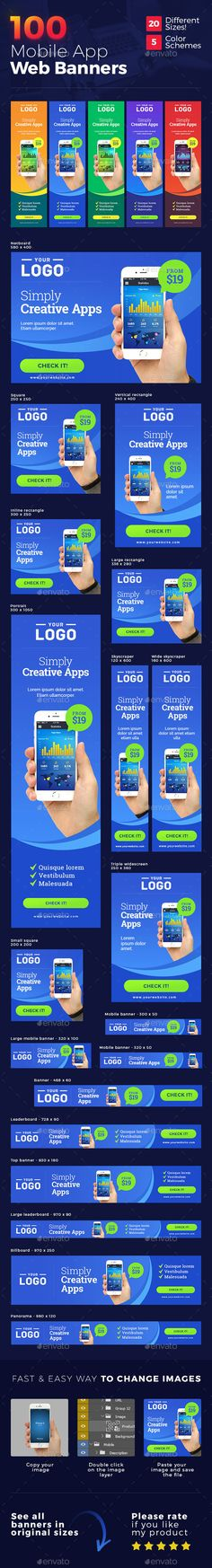 Mobile App Web Banners — Photoshop PSD #web banners #mobile • Download ➝ https://graphicriver.net/item/mobile-app-web-banners/19210566?ref=pxcr