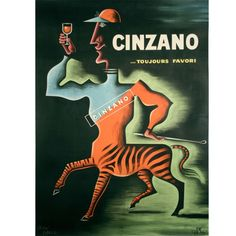 """Cinzano,"" a Vintage French Liquor Poster by Jean Carlu, 1950 