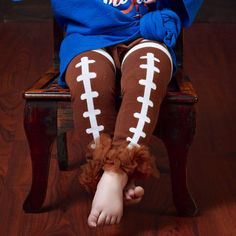 Football Leg Warmers Leggings with Ruffled Ankles by NeverNola, $12.00