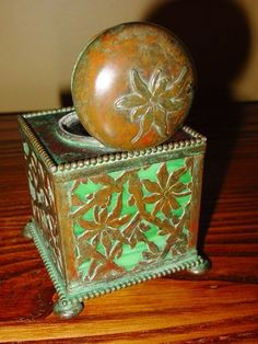 Vintage antique Bronze and glass inkwell