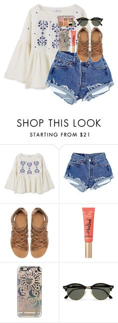 """When he texts first"" by theperksofbeinghope ❤ liked on Polyvore featuring MANGO, Zara, Too Faced Cosmetics, Casetify, Ray-Ban and Benefit"