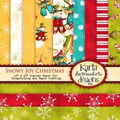Snowy Joy Christmas Digital Paper Pack - Scrapbook Crafting Cardmaking Printable - KD020