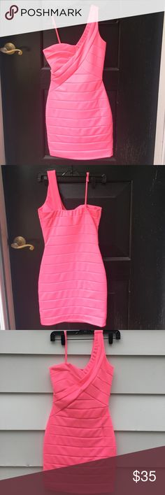 """Neon Pink Mini Dress NWT, neon pink, one shoulder mini dress. Form fitting. From top of the shoulder strap to the bottom of the dress measures approx. 33 ½"""" (see pictures). 96% polyester & 4% spandex. Arden B Dresses One Shoulder"""