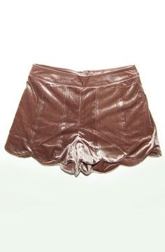 """Bronze metallic velveteen shorts features a scalloped hemline and an zipper closure at the back. - Approx. 11.5"""" Long (based on a Small) - 30"""" Waist circumference - 10"""" Front rise - 15"""" Back rise - Se"""
