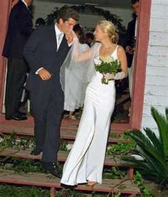 the wedding of John F. Kennedy, Jr. and Carolyn Bassette, September 21, 1996.  Sadly, they were both killed in a plane crash (piloted by John) on July 16, 1999.  Carolyn's sister, Lauren, was also aboard and died.