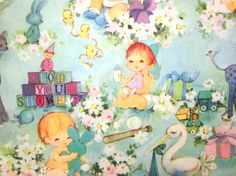 Vintage Wrapping Paper  Baby Shower  Partial by TillaHomestead, $4.00