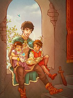 By whimsycatcher - fan art of Merlin as Court Sorcerer, sitting with Arthur and Gwen's kids. THE SHEER CUTENESS!!!!!!!!!!!!!!!!!!!!!!!-----Wait a sec... is that the Deathly Hallows in the spell book??? I THINK IT IS OMG!!!