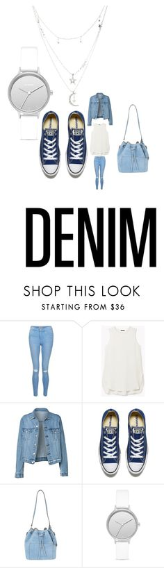 """""""GoDenimy☆"""" by rieeriee98 ❤ liked on Polyvore featuring New Look, Theory, Converse, Michael Kors, Skagen, Charlotte Russe and Denimondenim"""