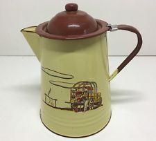 Vintage Monterrey Western Ware Coffee Pot - Cowboy Enamelware Very Collectible
