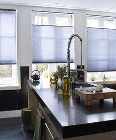 Control light and the view on the west side of the house with window treatments - ingenious Duette® shades from Luxaflex® come as top-down / bottom-up blinds, that can have 2 layers so you can have semi opaque during the day and total blackout for night!