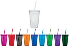 MINIMUM ORDER QUANTITY: 24 units per Size, Sizes Cannot Be Mixed (click here for imprinted) FEATURES Blank - Double wall BPA free acrylic construction tumbler with a twist on lid and straw. Available
