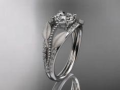 platinum diamond leaf and vine wedding ring
