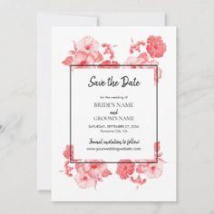 Rustic Save The Dates, Wedding Save The Dates, Save The Date Cards, Hibiscus Wedding, Elegant Flowers, Wedding Invitation Design, Stationery Design, Zazzle Invitations, Unique Weddings