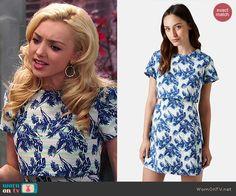 Emma's layered tropical print dress on Jessie.  Outfit Details: http://wornontv.net/47353/ #Jessie