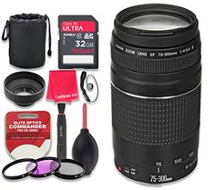 Introducing Canon EF 75300mm f456 III Lens with 32GB Ultra Pro Speed Class 10 SDHC Memory Card  3pc Filter Kit UVFLDCPL  Deluxe Sleeve  Celltime Microfiber Cleaning Cloth  International Version. Great Product and follow us to get more updates! Nikon D3100, Sony A6000, Canon Zoom Lens, Canon Ef, Iphone 6, Rebel, Camera Photos, Prime Lens