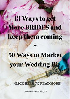 13 ways to get more brides + 50 ways to market your wedding biz Event Planning Business, Wedding Planning Tips, Wedding Tips, Destination Wedding, Wedding Venues, Party Planning, Dream Wedding, Wedding Officiant, Gothic Wedding