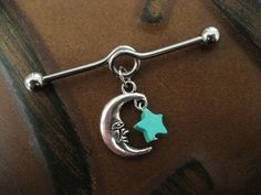 Ear Cartilage Piercing Crescent Moon And Star Charm Industrial Barbell