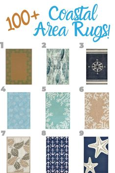 Best Beach Rugs For Sale! Find the top-rated coastal rugs and nautical rugs for your beach home. Tropical Area Rugs, Coastal Area Rugs, Ocean Rug, Nautical Rugs, Square Rugs, Coastal Style, Beach Themes, Top Rated, Coral