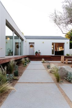 Photo 19 of 21 in My House: An Architect Couple's Playful Courtyard Home in Los Angeles - Dwell Wood Patio, Concrete Patio, Outdoor Spaces, Outdoor Living, Outdoor Decor, Outdoor Patios, Outdoor Kitchens, Future House, My House