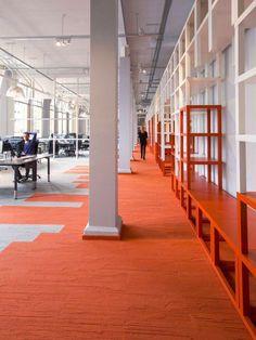 Interface carpet in eye-popping orange.