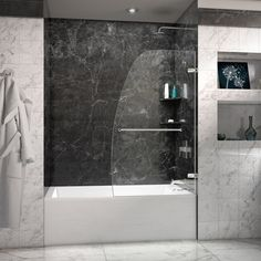 DreamLine Aqua Uno 34 inch Frameless Hinged Tub Door (Chrome Finish), Silver